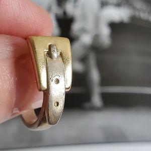 Preppy Boho! Vintage Sterling + 18k Buckle Ring
